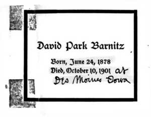 funeral card from Barnitz's funeral